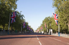 The Mall. LONDON - APRIL 27: The Mall decorated with union flags for Prince William and Catherine Middleton's royal wedding celebration to take place April 29 Royalty Free Stock Photography