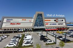 Mall of Antalya. Antalya, Turkey - October 3, 2017: Parking lot at the Mall of Antalya. Opened on April 28, 2017, the mall has largest in the city stores of H&M Stock Photography