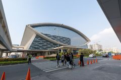 Mall of Asia Arena facade. it is an indoor arena within the SM Mall of Asia complex in Pasay, Manila, Philippines. Manila, Philippines - Feb 10, 2018 : Mall of Royalty Free Stock Photo