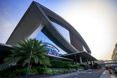 Mall of Asia Arena facade. it is an indoor arena within the SM Mall of Asia complex in Pasay, Manila, Philippines. Manila, Philippines - Feb 10, 2018 : Mall of Stock Photo