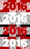 Mall av affischen för nytt år med '2016' på randig bakgrund Royaltyfri Fotografi