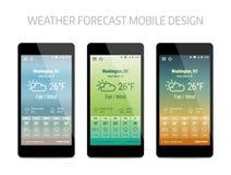 Mall av applikationen för väderforcastmobil Arkivfoton