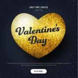 Mall av ett baner för svart fyrkant med en till salu hjärta av guld Royaltyfri Fotografi
