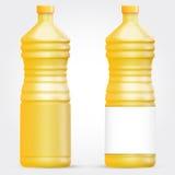 Mall av exponeringsglas eller den plast- flaskan för solrosolja eller annan flytande Royaltyfria Foton