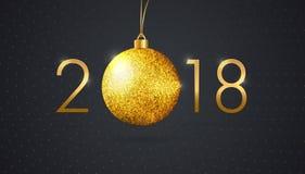Mall av för svartvektor för nytt år en bakgrund med en guld- tex Royaltyfria Foton