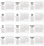 Mall av kalendern för 2016 Royaltyfri Fotografi