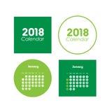 Mall av kalendern för Januari 2018 vektor illustrationer