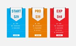 Mall av mångfärgade pristabeller för vektor med en pil-ribbo Arkivfoton