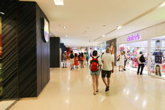 Mall in Barcelona. Aug. 19 2014 Tourists Enjoy at mall in Port of Barcelona, Spain Stock Images