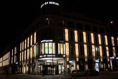 Mall of Berlin exterior at night. Berlin, Germany - February 22, 2018: Mall of Berlin at night. The LP12 Mall of Berlin is a shopping mall also known as Royalty Free Stock Photos