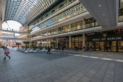 The Mall of Berlin. Berlin, Germany - march 24, 2017: Inside the court of `The Mall of Berlin`, a big shopping mall in Berlin, Germany Stock Photos