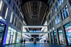 Mall of Berlin. BERLIN - OCTOBER 08, 2016: A new and modern shopping mall at Potsdamer Platz 'Mall of Berlin' in the evening illumination Royalty Free Stock Images