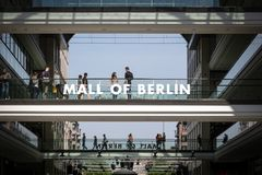 Mall of Berlin shopping centre. BERLIN, GERMANY - APRIL 28, 2018: Interior view of the new Mall of Berlin shopping centre at Leipziger Platz. The mall has stock image