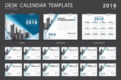 Mall 2018, blåtträkningsdesign för skrivbordkalender Fotografering för Bildbyråer