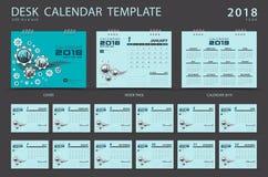 Mall 2018, blåtträkningsdesign för skrivbordkalender Royaltyfria Foton