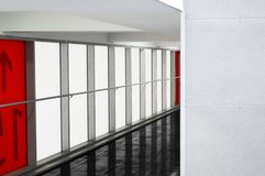 Mall or business center area with minimalistic red white black i stock image