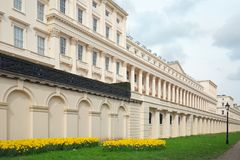 Wide Angle View of Carlton House Terrace which is located on The Mall in London, 2018. The Mall - Carlton House Terrace, London 2018.  This houses the Institure Royalty Free Stock Image