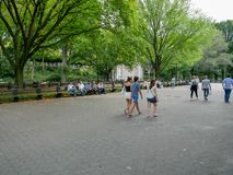 The Mall in Central Park in Manhattan. New York - Sep 2017: The Mall in Central Park in Manhattan, New York City, USA Royalty Free Stock Photography