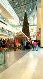 Mall Christmas celebrations Gathering. People gathering Mall Christmas celebrations with Santa Workshop and tree Abu Dhabi Mall UAE United Arab Emirates Royalty Free Stock Image