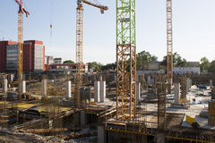 Mall construction site in Bucharest. View of the Mega Mall construction site in Bucharest. The Mega Mall is being built on the site of the former Electroaparataj stock image