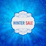 Mall eller bakgrund för design för vinterförsäljningsaffisch Befordrings- vektor för idérik affär Royaltyfria Bilder