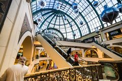 Mall of the Emirates. DUBAI, UAE - DECEMBER 19: Shoppers at Mall of the Emirates on December 19, 2013 in Dubai. Mall of the Emirates is a shopping mall before Stock Photo