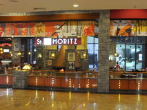 Mall of the Emirates in Dubai, UAE. St. Moritz Café in Mall of the Emirates in Dubai, UAE. It is the world's first shopping resort and a multi-level shopping Royalty Free Stock Image