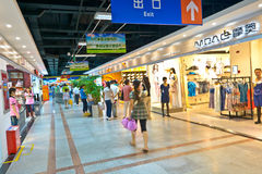 Mall entrance. People are shopping in the underground mall at mianyang,china.Photo is taken on 31 July 2011 Royalty Free Stock Photography