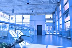 Mall entrance hall. Entrance hall with blue tone Stock Photo
