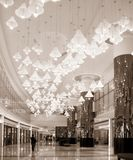 Mall Entrance Hall. With  large lampshades hanging from the ceiling Royalty Free Stock Images