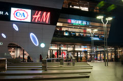 Mall entrance by night Royalty Free Stock Image