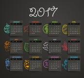 mall för 2017 år vektorkalender Fotografering för Bildbyråer