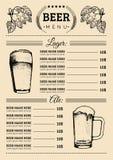Mall för ölmenydesign Vektorbaren, restaurangkort med handen skissade lager, ölillustrationer Bryggeribeståndsdelsymboler royaltyfri illustrationer