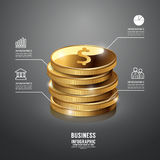 Mall för affär Infographic för guld- mynt begreppsvektor Royaltyfria Foton