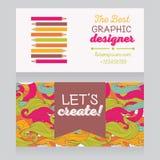 Mall för affärskort för grafisk formgivare eller för konstterapeut/konstgrupper stock illustrationer
