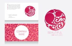 Mall för affärskort och mall för din logo royaltyfri illustrationer