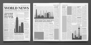 Mall för affärstidning Rubrik för finansiell nyheterna, tidningssidor och isolerad vektorillustration för finans tidskrift royaltyfri illustrationer