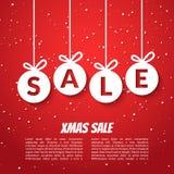 Mall för affisch för julbollförsäljning Xmas-försäljningsbakgrund Mall för rensning för erbjudande för rabatt för vinterferie röd royaltyfri illustrationer