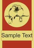 Mall för affisch för vektor för fåglar för sparvparförälskelse Royaltyfri Foto