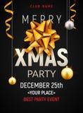 Mall för affisch för julparti Guld- silverbollar för jul och guld- baner för inbjudan för pilbågereklambladgarnering stock illustrationer