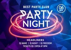 Mall för affisch för natt för musik för nattdansparti Electro inbjudan för reklamblad för händelse för parti för klubba för stilk royaltyfri illustrationer