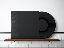 Mall för album för fotovinylmusik på den naturliga wood bokhyllan Vit målad bakgrund för tegelstenvägg Tappningstil som är hög Royaltyfri Fotografi
