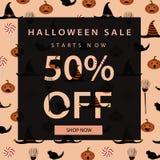 Mall för allhelgonaaftonförsäljningsbaner bakgrundstecken halloween som isoleras över affischen också vektor för coreldrawillustr arkivfoto