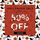 Mall för allhelgonaaftonförsäljningsbaner bakgrundstecken halloween som isoleras över affischen också vektor för coreldrawillustr fotografering för bildbyråer