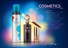 Mall för annonser för packe för skönhetsmedelvektor realistisk flaskor för hårprodukter Illustration för modell 3D abstrakt blue Fotografering för Bildbyråer