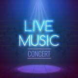 Mall för bakgrund för neonLive Music Concert Acoustic Party affisch med strålkastaren och etappen stock illustrationer