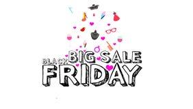 Mall för bakgrund för stor design för försäljningsBlack Friday inskrift vit Svart fredag baner illustration Royaltyfri Bild