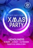 Mall för baner för affisch för parti för nytt år för jul Design för ferieberömkort Mall för Xmas-reklambladparti stock illustrationer
