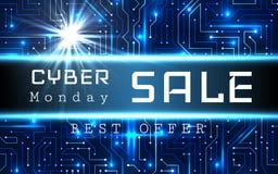 Mall för baner för Cybermåndag Sale vektor Blå glänsande bakgrund för den binära koden med pilar och prövkopian smsar Arkivbild