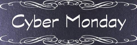 Mall för baner för Cybermåndag svart Cybermåndag etikett arkivfoto